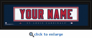 St Louis Cardinals Personalized Stitched Jersey Nameplate Framed Print