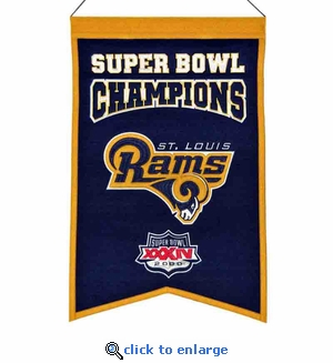 St Louis Rams Super Bowl Champions Wool Banner (14 x 22)