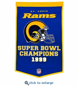 St Louis Rams Super Bowl Dynasty Wool Banner (24 x 36)