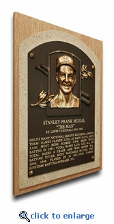 Stan Musial Baseball Hall of Fame Plaque on Canvas - St Louis Cardinals