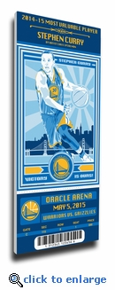 Stephen Curry 2015 NBA MVP Artist Series Canvas Mega Ticket - Warriors (Speakman)