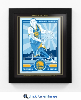 Stephen Curry Sports Propaganda Framed 13x16 Digital Print - Warriors