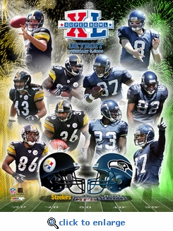 Super Bowl 40 Pittsburgh Steelers / Seattle Seahawks Matchup 8x10 Photo