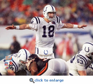 Super Bowl 41 Indianapolis Colts Peyton Manning Action 8x10 Photo