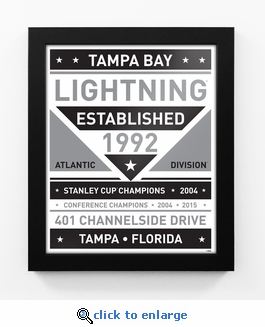 Tampa Bay Lightning Black and White Team Sign Print Framed