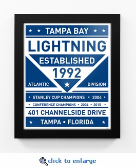 Tampa Bay Lightning Dual Tone Team Sign Print Framed
