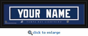 Tampa Bay Lightning Personalized Stitched Jersey Nameplate Framed Print