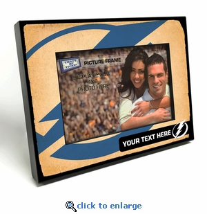 Tampa Bay Lightning Personalized Vintage Style Black Wood Edge 4x6 inch Picture Frame