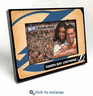 Tampa Bay Lightning Vintage Style Black Wood Edge 4x6 inch Picture Frame