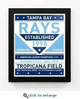 Tampa Bay Rays Dual Tone Team Sign Print Framed