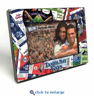 Tampa Bay Rays Ticket Collage Black Wood Edge 4x6 inch Picture Frame