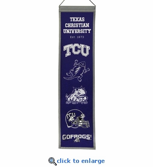 TCU Horned Frogs Heritage Wool Banner (8 x 32)