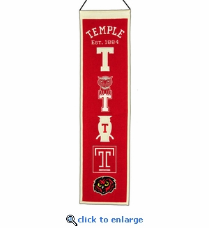 Temple Owls Heritage Wool Banner (8 x 32)