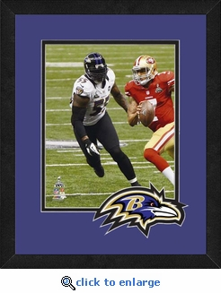 Terrell Suggs/Baltimore Ravens Framed Super Bowl 47 Game Action Photo