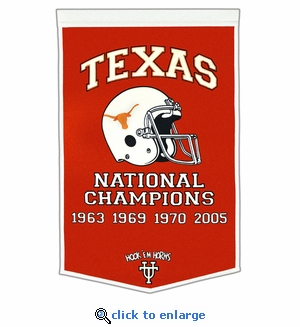 Texas Longhorns National Champions Dynasty Wool Banner (24 X 36)