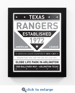 Texas Rangers Black and White Team Sign Print Framed