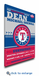 Texas Rangers Personalized Canvas Birth Announcement - Baby Gift