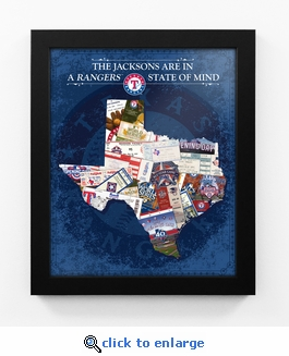 Texas Rangers Personalized State of Mind Framed Print