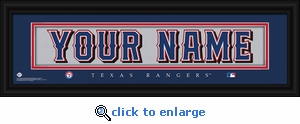 Texas Rangers Personalized Stitched Jersey Nameplate Framed Print