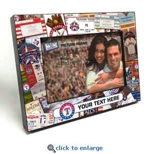 Texas Rangers Personalized Ticket Collage Black Wood Edge 4x6 inch Picture Frame