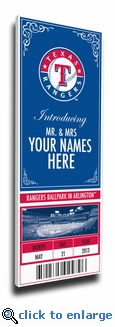 Texas Rangers Personalized Special Occasion Announcement on Canvas - Ticket Design