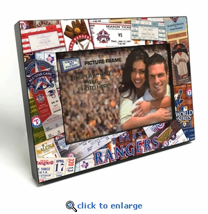 Texas Rangers Ticket Collage Black Wood Edge 4x6 inch Picture Frame
