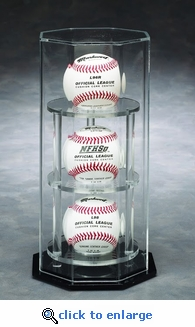 Three Baseball Octagon Acrylic Display Case