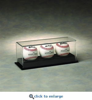 Three Baseball Rectangular Acrylic Display Case with Formed Base
