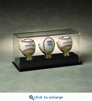 Three Baseball Rectangular Acrylic Display Case with Gold Glove Holders and Formed Base
