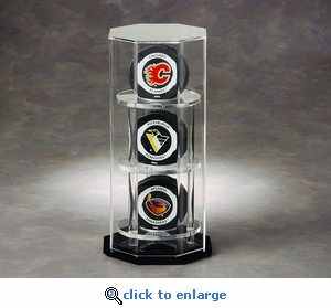 Three Hockey Puck Octagon Acrylic Display Case