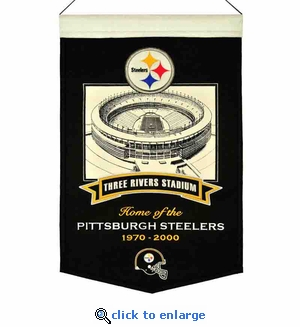Three Rivers Stadium Steelers Wool Banner (20 x 15) - Pittsburgh Steelers