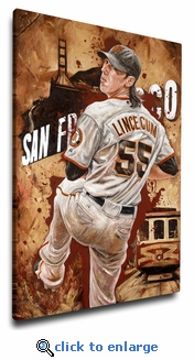Tim Lincecum - Torque Power - 12x18 Art Reproduction on Canvas by Justyn Farano - Giants