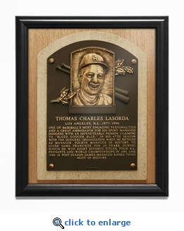 Tom Lasorda Baseball Hall of Fame Plaque Framed Print - Los Angeles Dodgers