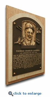 Tom Lasorda Baseball Hall of Fame Plaque on Canvas - Los Angeles Dodgers