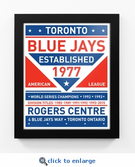 Toronto Blue Jays Dual Tone Team Sign Print Framed