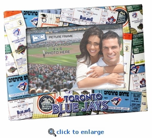 Toronto Blue Jays Padded Front 4x6 Picture Frame - Ticket Collage Design