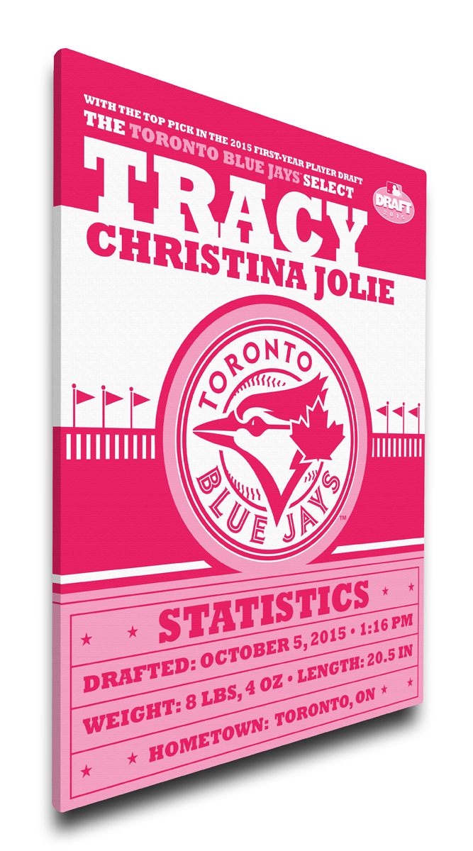 Toronto blue jays personalized canvas birth announcement baby gift negle Choice Image