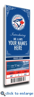 Toronto Blue Jays Personalized Special Occasion Announcement on Canvas - Ticket Design