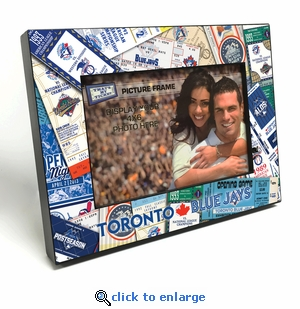 Toronto Blue Jays Ticket Collage Black Wood Edge 4x6 inch Picture Frame