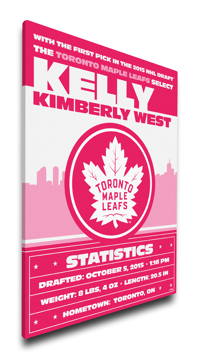 Toronto maple leafs personalized canvas birth announcement baby gift negle Gallery