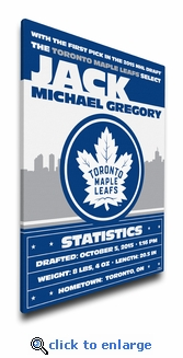 Toronto Maple Leafs Personalized Canvas Birth Announcement - Baby Gift