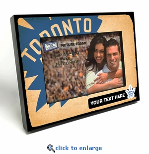 Toronto Maple Leafs Personalized Vintage Style Black Wood Edge 4x6 inch Picture Frame