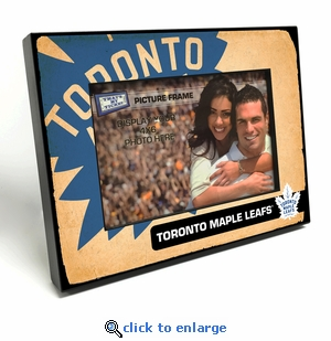 Toronto Maple Leafs Vintage Style Black Wood Edge 4x6 inch Picture Frame