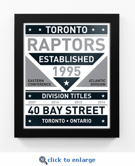Toronto Raptors Black and White Team Sign Print Framed