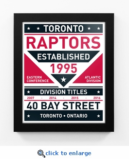 Toronto Raptors Dual Tone Team Sign Print Framed