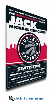 Toronto Raptors Personalized Canvas Birth Announcement - Baby Gift