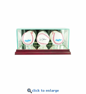Triple Baseball Display Case - Cherry