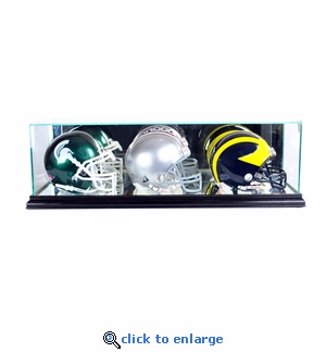 Triple Mini Football Helmet Display Case - Black