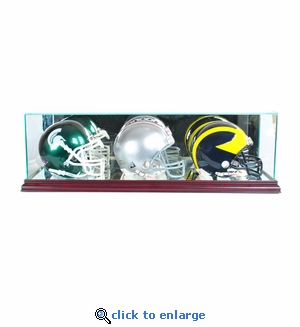 Triple Mini Football Helmet Display Case - Cherry
