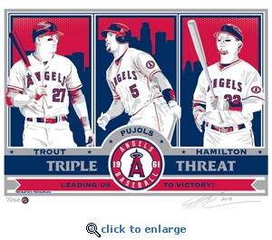 Trout, Pujols, and Hamilton Sports Propaganda Handmade LE Serigraph - Los Angeles Angels